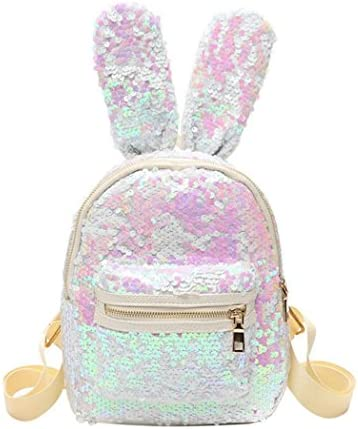 92a1ea2392e9 Raylans Women's Girl's Sequins Backpack with Cute Ears Schoolbag Shoulder  Bag