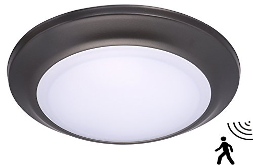 Rubbed Bronze 12 Light - Cloudy Bay 7.5 inch LED Microwave/Radar Motion Sensor Flush Mount Ceiling Light,5000K Bright Day Light,12W Oil Rubbed Bronze Round Lighting Fixture For Garage,Walk-in Closet,Attic,Laundry