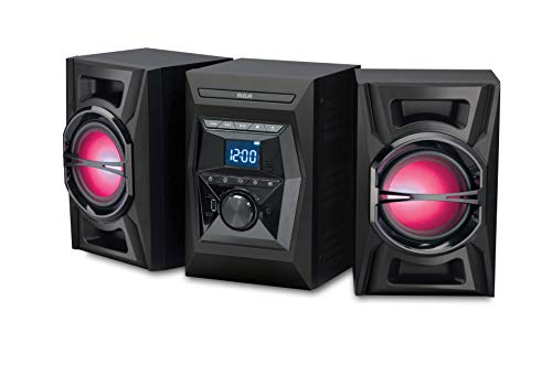 RCA (RS3698BL) 100W CD Stereo Audio Shelf System with Bluetooth Receiver and Wireless Technology - Illuminated LED Speakers, Digital FM Tuner, USB Charging Port