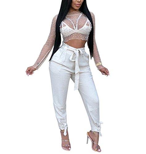 - Nhicdns Women's Sexy Sheer Shirt See Through Long Sleeve Crop Tops Tee Blouse