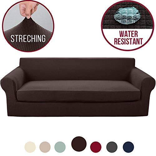 Vailge 2-Piece High Stretch Jacquard Large Sofa Slipcover, Water Resistant XL Sofa Cover with Separate Cushion Cover, Machine Washable Couch Covers/Slipcover for Dogs,Living Room(XL Sofa:Chocolate)