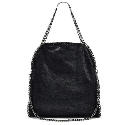 cb94e6f0a9 Anush Borsa donna grande borsa con catena tracolla regolabile in pelle  sintetica 40x42x10 cm (Black