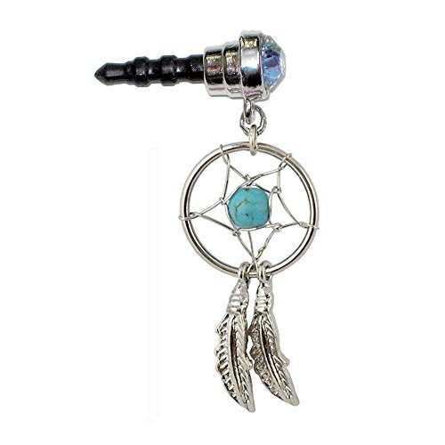 Phone Charm Dust Plug Beautiful Silvertone Dream Catcher Turquoise-color Bead for 3.5mm. Headphone Earphone Jack Cell Mobile Iphone Android HTC Tablet Ipod Ereader by BodyBits