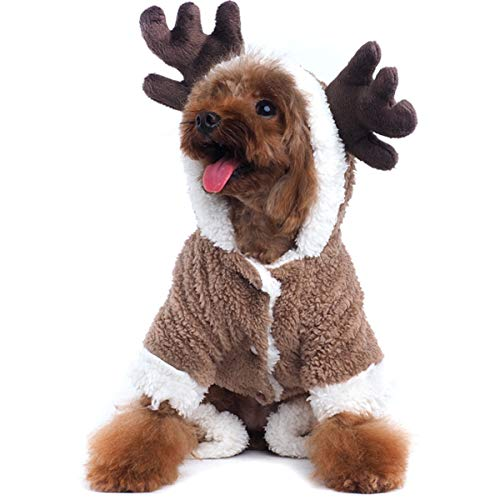 AOFITEE Pet Christmas Reindeer Costume Doggie/Cat Soft Comfy Coral Velvet Pajamas, Pet Warm Winter Hoodies Jumpsuits for Holiday Party, M -