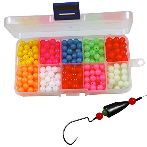 (QualyQualy Fishing Beads Assorted,Fishing Tackle Hard Plastic Red Yellow Mix Color Luminous Glow Fishing Beads 6.5mm Bulk Kit 800)