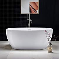 WOODBRIDGE Acrylic Freestanding Bathtub Contemporary Soaking Tub with Brushed Nickel Overflow and Drain, BTA1518, 59