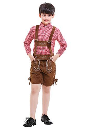 Paniclub Oktoberfest Costume Bavarian Men Toddler Kids Uniform Lederhosen Shorts with Shirt (110-120, Kids)