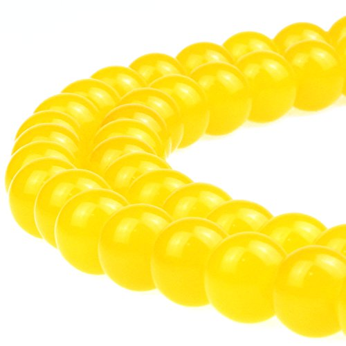 JARTC Natural Stone Beads Yellow Agate Round Loose Beads for Necklace Bracelat Charms Jewelry Making (6mm)