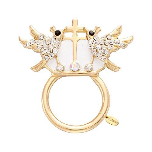 Magnetic Crystal Cross - SENFAI 2 Bird Crown Cross White Enamel Crystal Magnetic Eyeglass Holder Brooch