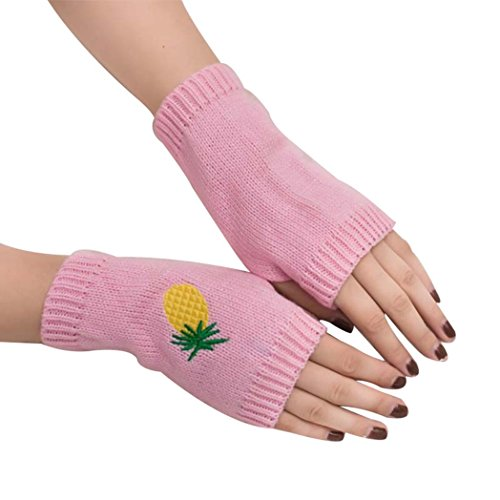 Colorido Women Cartoon Pineapple Embroidery Woolen Yarn Winter Half-finger Gloves Mitten size One Size (Pink)