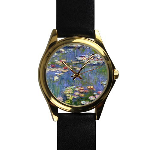 Unique Christmas Gift Water Lilies by Claude Monet Art Unisex -tone Round Leather Metal Watch ()