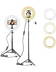 10 inch ringlamp met 59 inch uitschuifbare statiefstandaard en telefoonhouder voor YouTube-video, dimbaar led-ringlicht met afstandsbediening voor camera, video, make-up, selfie fotografie compatibel met smartphone