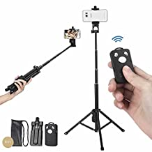 """54"""" Selfie Stick Tripod,3 in 1 Extendable iPhone Tripod, Self-portrait Monopod, Tripod for Cellphone and Camera, with Cellphone Holder Clip and Remote Shutter"""