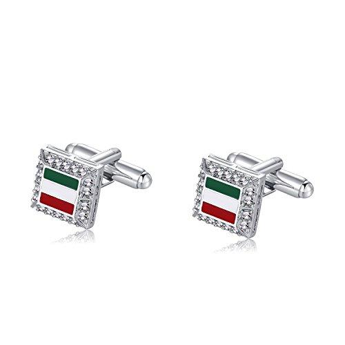 Cubic Zirconia Cufflinks (Italian Cufflinks for Man Wedding Business Italian Flag With Cubic Zirconia around Cufflinks for Men Shirt Fun Gift for Him)