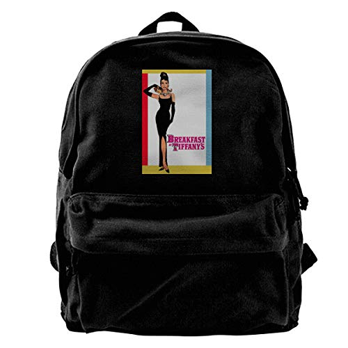 WUHONZS Canvas Backpack Audrey Hepburn Breakfast at The Tiffany's Movie Poster Rucksack Gym Hiking Laptop Shoulder Bag Daypack for Men Women