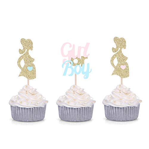 Set of 24 Gold Gender Reveal Cupcake Toppers Girl or Boy Pink or Blue Party Decorations