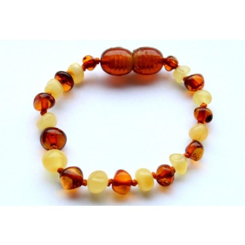 Bouncy Baby Boutique(TM) Baltic Amber Teething Anklet/Bracelet – B65 Baroque Honey and Butterscotch, Baby & Kids Zone