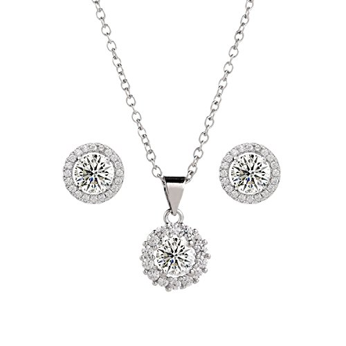 BaubleStar Fashion Silver Halo CZ Stud Earrings Pendant Necklace Crystal Bridal Wedding Jewelry Set for Brides Braidesmaids-BAN0044