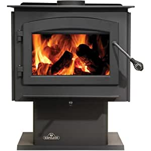 1450 Medium Woodstove with Pedestal and Cast Iron Door Painted Black