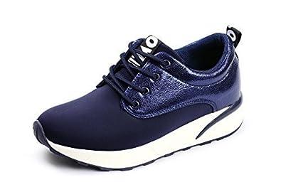 Damen Mode Schnürer Damen Sneaker Flache Schuhe Sneakers Fitnessstudio Pumps  - Marine, 36