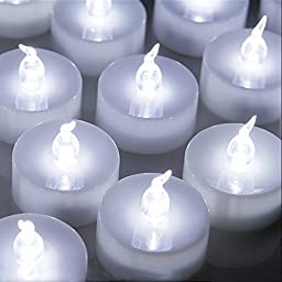 LED Candle lights, AGPtek no Drip Flickerless Flameless LED Tealights Candles - Cool White-24 Pieces