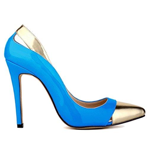 Mouth Xianshu Ciel Pompes Couleur cuir Chaussures Brevet de Combat Femmes Creux Haute de Hollow Talon Couture Bleu rHOar1qw