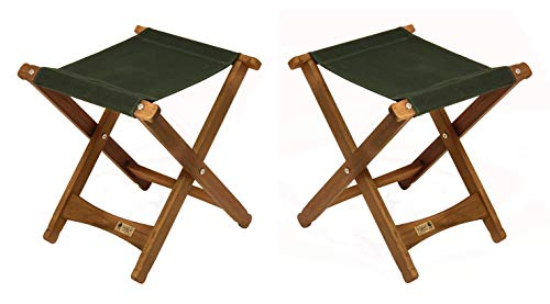 BYER OF MAINE, Pangean, Folding Stool, Hardwood, Easy to Fold and Carry, Wood Folding Stool, Canvas Camp Stool, Perfect for Camping, Matches All Furniture in The Pangean Line, Green, Two Pack