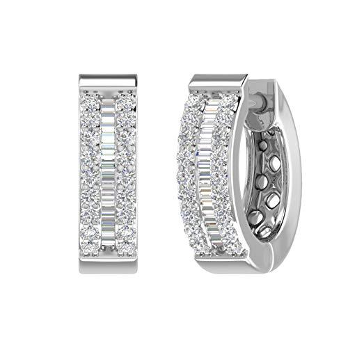 1/4 Carat Diamond Hoop & Huggies Earrings in 10K White Gold - IGI Certified