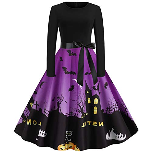 TOPBIGGER Women 1950s Retro Dresses Halloween Dresses Long Sleeve O Neck Cosplay Costume Purple