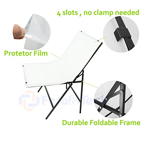 Foto&Tech Portable Non-Reflective Still Life Shooting Metal Frame Foldable Table with 58cm x 98cm Pure White Plexiglass Panel Cover Photo Studio Bench Easy Set Up without tools by Foto&Tech (Image #1)