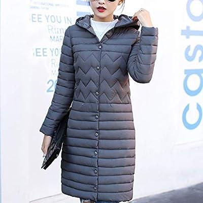 Sttech1 Women's Down Jacket, Single Breasted Puffer Coat Winter Warm Long Hooded Light Quilt Outwears: Clothing