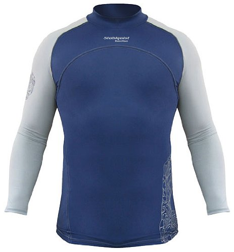 Stohlquist Men's Long Sleeve Burnout Rashguard, Navy/Grey, Large, Outdoor Stuffs