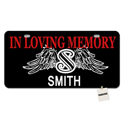 (SGBASED Personalized Monogram License Plate - in Loving Memory Angel Wings Custom Auto Car Tag 2 Holes(11.8 X 6.1 inches) )