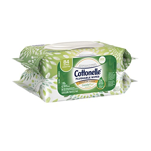 Cottonelle GentlePlus Flushable Wipes with Aloe & Vitamin E, 84 Total Wet Wipes