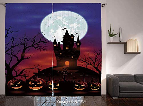 Thermal Insulated Blackout Window Curtain [ Halloween Decorations,Gothic Haunted House Castle Hill Valley Night Sky October Festival Theme,Multi ] for Living Room Bedroom Dorm Room Classroom Kitchen