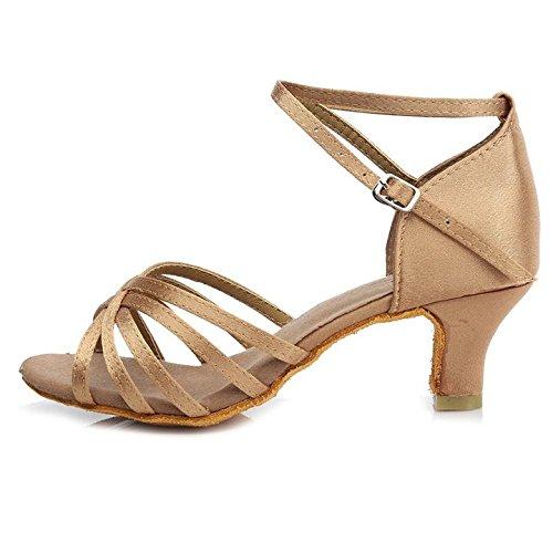 Samba de bal 5CM Chacha Beige 213 Moderne de Salle Chaussures en satin S7 pour Standard Latin danse HROYL femmes SPYqT77