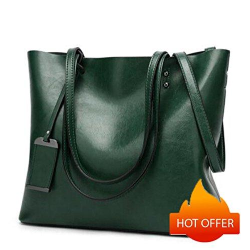 Satchel Greased Handle Bags Shoulder Leather Tote Women Bag Green Top ZdP8Ww