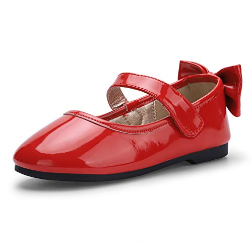 PANDANINJIA Girl's Shoes Toddler Little Girls Angela Ballet Flat Dress Shoes Mary Jane Party Wedding School Shoes Red(Flower Girl/Little Kid) ()