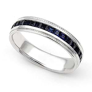 Platinum Channel set Blue Sapphire Eternity Band Ring, 4