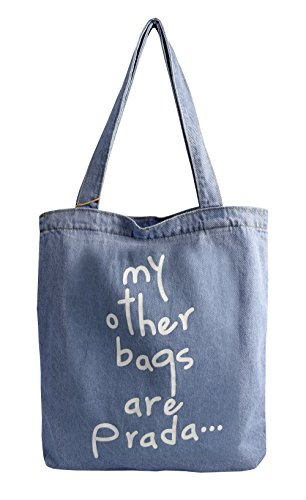 Peach Couture Denim Canvas Tote Laptop Bag Beach Handbags Womens Shoulder Bags (Denim) ()