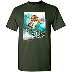 Tiger Make up Wild Animal Tanya Ramsey Artworks Art DT Adult T-Shirt Tee (XX Large, Forest Green)