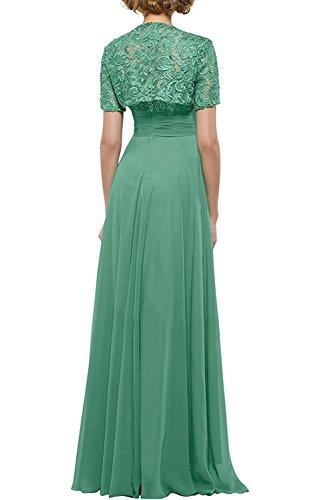 Blau Kurzarm Spitze Abschlussballkleider Ballkleider Herrlich La mit Abendkleider Grün Promkleider mia Braut Bodenlang Bolero wCqC1g