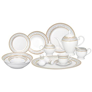 Lorren Home Trends 57-Piece Porcelain Dinnerware Set, Giada, Service for 8