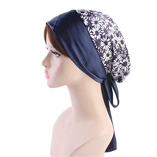 - Jinxuny Vintage Print Elastic Head Scarf Bowknot Headwear Wrap Turban Hat Cancer Chemo Cap Multipurpose Muslim Stretch Satin Wide Band Hair Loss Sleeping Night Headwraps (Color : Chrysanthemum)