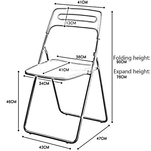 DALL Vikbar kontorsstol metallram ryggstöd matstol datorbord stol plast säte konferensstol (färg: Röd, storlek: 6 delar)