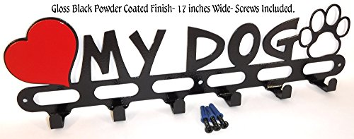 Dog Leash Wall Hook. Hanger. Holder. I Love My Dog. Handmade in USA. Jet Black Texture.