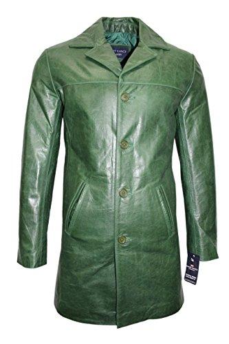 Nouveau modèle 3476 Veste Pour hommes 4 boutons BLAZER classique au genou longueur glaçage vert veste en cuir de vache