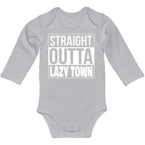 Indica Plateau Baby Romper Straight Outta Lazy Town Heather Grey for 18 Months Long-Sleeve Infant Bodysuit