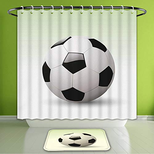 Waterproof Shower Curtain and Bath Rug Set Sports Image of Football Soccer Ball Artwork with Green Ombre Background Image Bath Curtain and Doormat Suit for Bathroom Extra Long Size 72