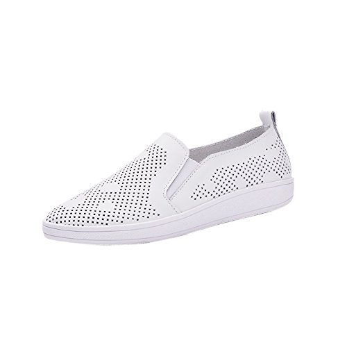Women's Spring Summer Cutout Holes Elastic Flats Loafers Genuine Leather Breathable Fashion Sneakers White dVHc1C